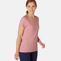 T-shirt Sport Pilates Gym Douce Femme 500 Regular Mauve