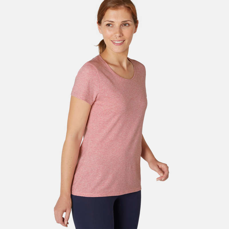 WOMAN T SHIRT LEGGING SHORT Clothing - Women's Gym T-Shirt 500 Mauve NYAMBA - Tops