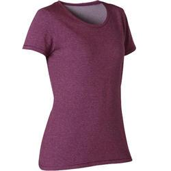 T-shirt voor pilates en lichte gym dames 500 regular fit pruimenpaars/print