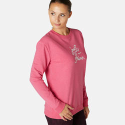 Sweater voor work-out dames 120 roze/print