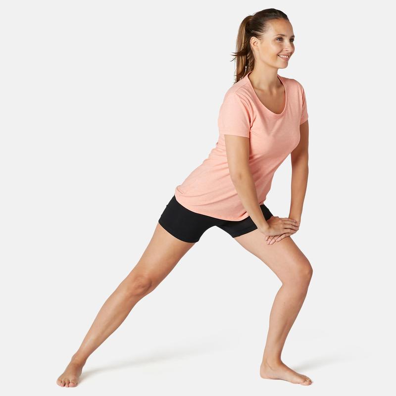 Women's Slim-Fit Pilates & Gentle Gym Sport Shorts Fit+500 - Black