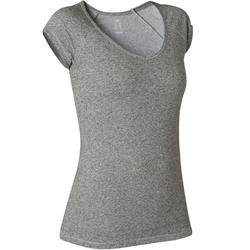 T-shirt Sport Pilates Gym Douce Femme 500 Slim Gris
