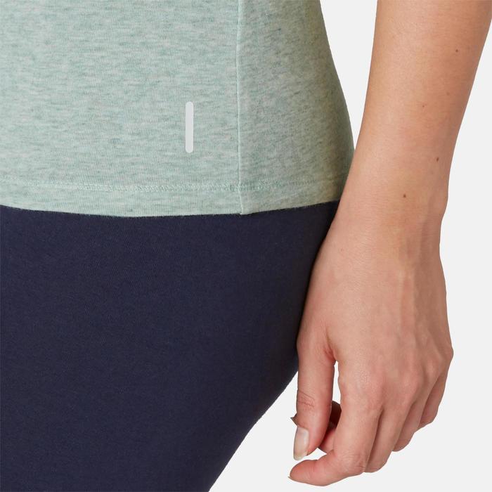 T-shirt voor pilates en lichte gym dames 500 slim fit groen