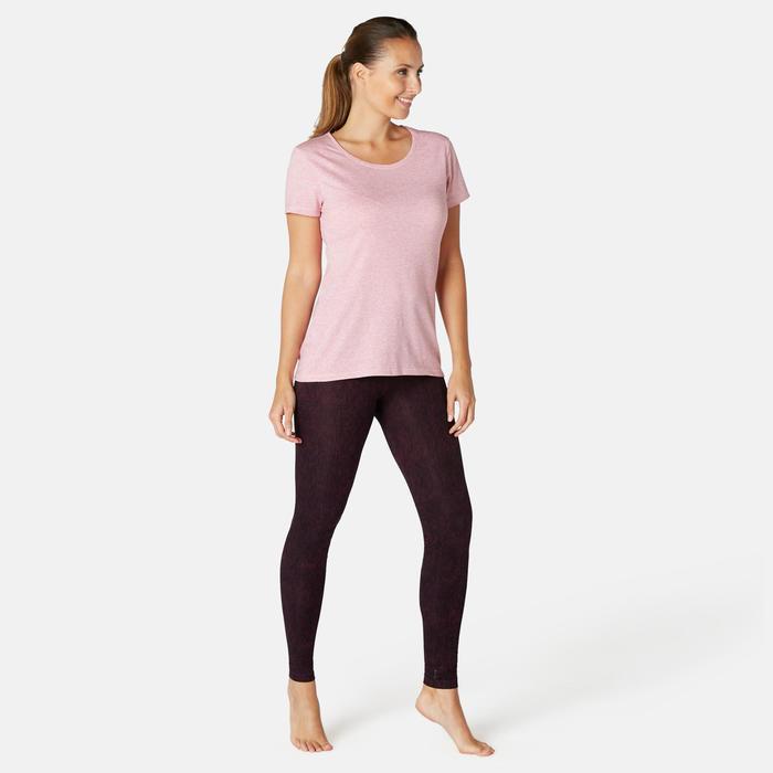 Pantalon Sport Pilates Gym douce Femme Fit+500 Slim Violet Printé