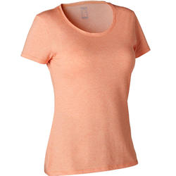T-shirt Sport Pilates Gym Douce Femme 500 Regular Orange Printé