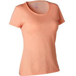 T-shirt voor pilates en lichte gym dames 500 regular fit oranje/print