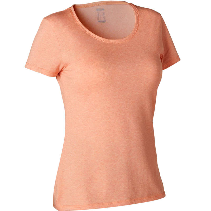 T-SHIRT, LEGGINGS, SHORT DONNA Ginnastica, Pilates - T-shirt donna gym 500 arancio DOMYOS - Sport