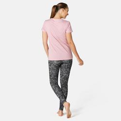 Legging sport taille haute Fit+ 500 femme en coton Noir Printé