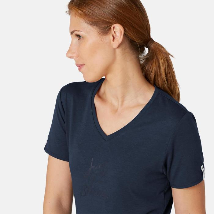 T-shirt Sport Pilates Gym Douce Femme 510 Bleu Marine Imprimé