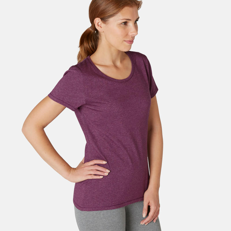 T-shirt Sport Pilates Gym Douce Femme 500 Regular Violet Printé