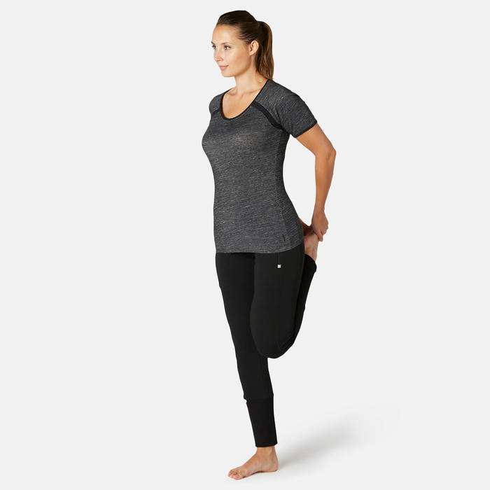 Damesbroek voor pilates en lichte gym 540 zwart