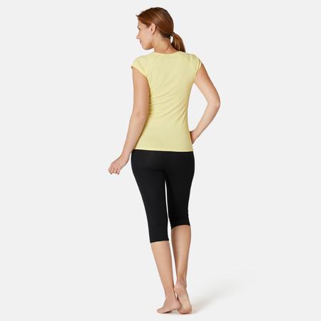 Жіноча футболка 500 для фітнесу, вузький крій - Жовта