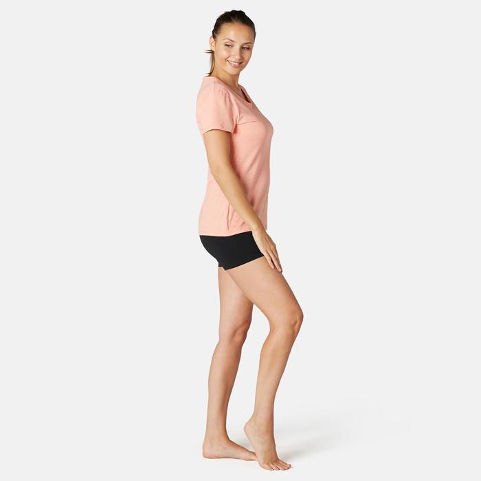Short voor pilates en lichte gym dames Fit+500 slim fit zwart