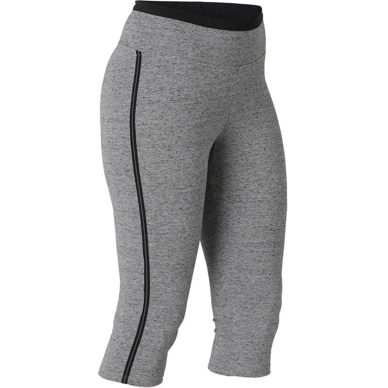 T-SHIRT, LEGGINGS, SHORT DONNA Ginnastica, Pilates - Corsari donna gym 510 grigi NYAMBA - Abbigliamento donna
