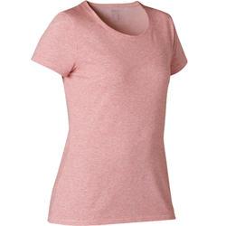 T-shirt voor pilates en lichte gym dames 500 regular fit zachtpaars