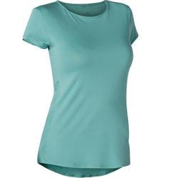 T-shirt voor pilates en lichte gym dames 520 grijsblauw