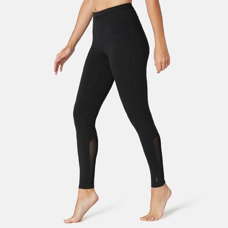 Legging Olahraga Pilates & Senam Ringan Slim-Fit Wanita 520 - Hitam