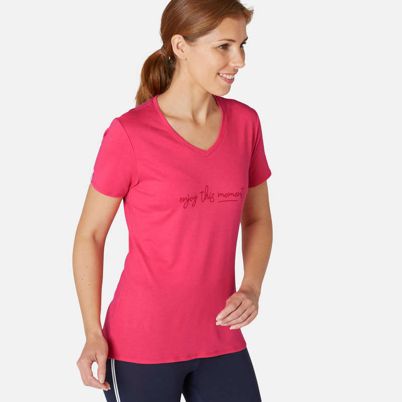 T-SHIRT, LEGGINGS, SHORT DONNA Ginnastica, Pilates - T-shirt donna gym 510 rosa NYAMBA - Sport