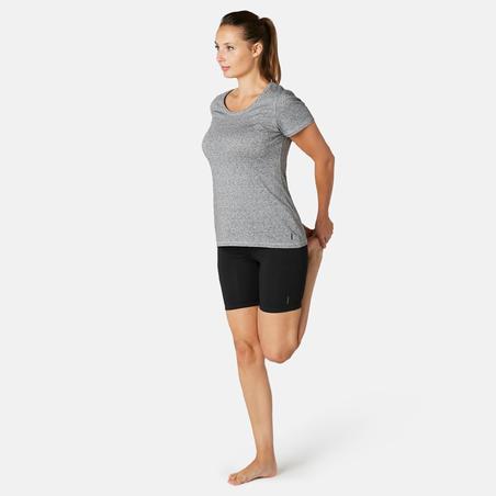 Mallas ciclistas Sport Pilates y Gimnasia suave mujer Fit+500 Slim Negro