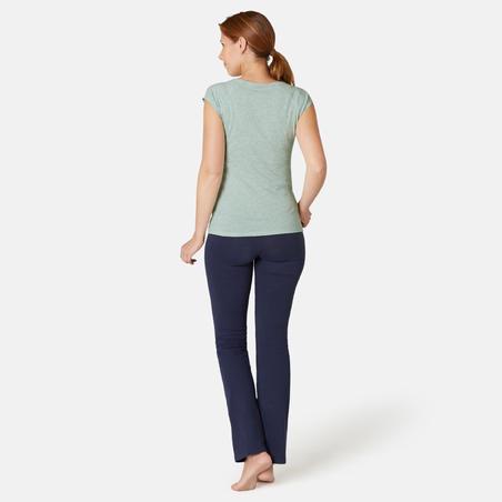 חולצה צמודה לכושר עדין ולפילאטיס לנשים 500 - ירוק