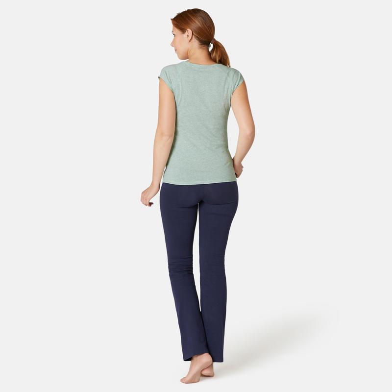 Women's Slim-Fit Pilates & Gentle Gym Sport T-Shirt 500 - Green
