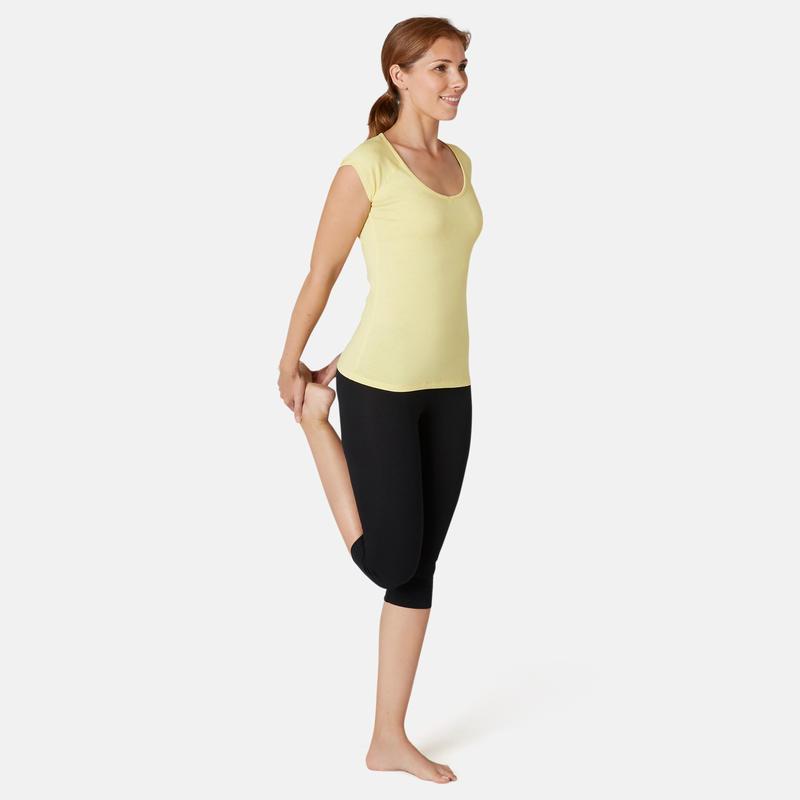 T-shirt Sport Pilates Gym Douce Femme 500 Slim Jaune