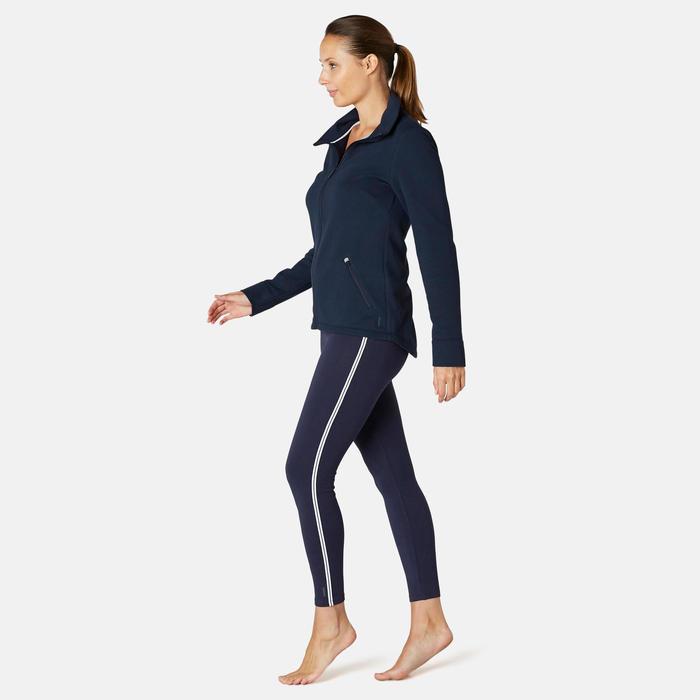 Sweat Zippé col haut Fitness Bleu Marine