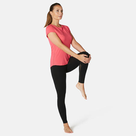 Stretchy High-Waisted Cotton Fitness Leggings with Mesh - Black