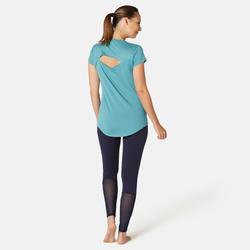 Legging voor pilates en lichte gym dames 520 slim fit marineblauw