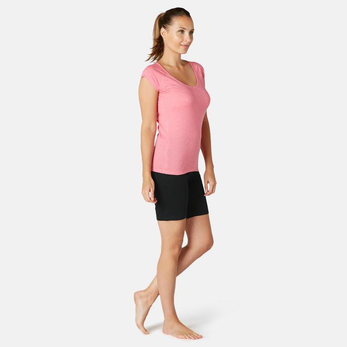 Short Coton Fitness Fit+ Coupe droite Noir
