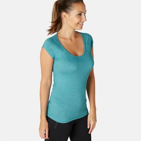 Жіноча футболка 500 для фітнесу, вузький крій - Бірюзова