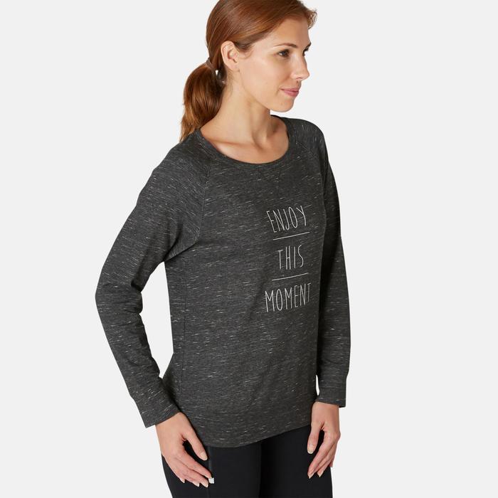 T-shirt Manches Longues Sport Pilates Gym Douce Femme 500 Regular Gris Printé