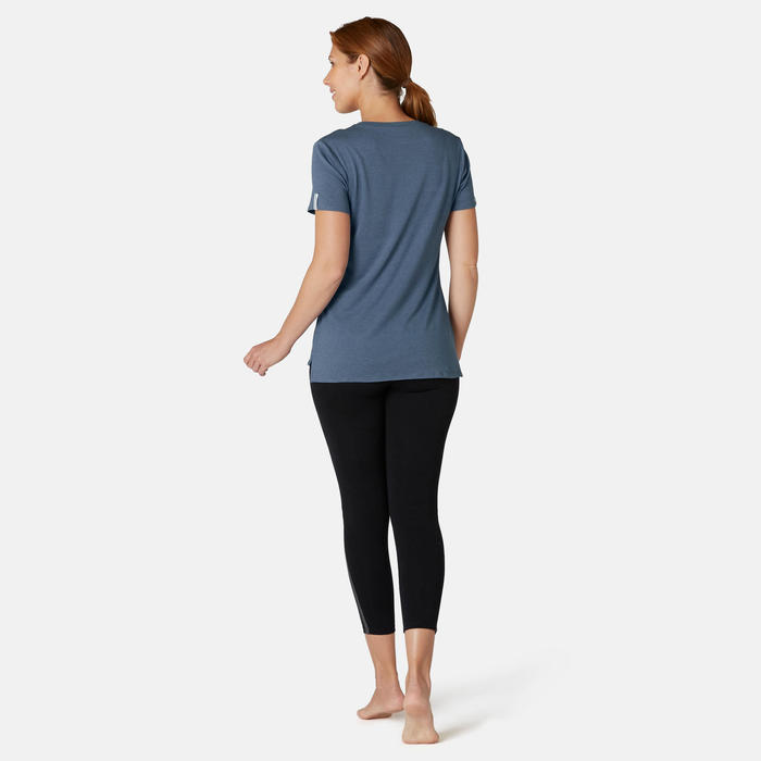 T-shirt Sport Pilates Gym Douce Femme 510 Bleu Imprimé
