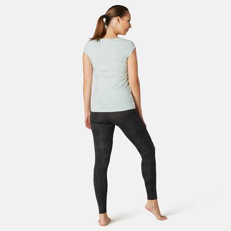 Women's Slim-Fit Pilates & Gentle Gym Sport Bottoms Fit+ 500 - Black Print
