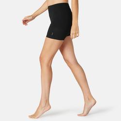 女款修身剪裁皮拉提斯與溫和健身短褲Fit+500 - 黑色