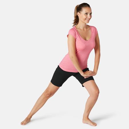Short Sport Pilates Gym Douce Femme Fit+ 500 Rég Noir