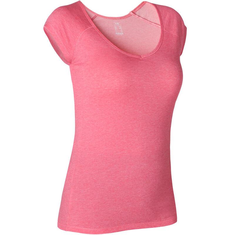 Women's Slim-Fit Pilates & Gentle Gym Sport T-Shirt 500 - Pink