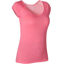 T-shirt Sport Pilates Gym Douce Femme 500 Slim Rose