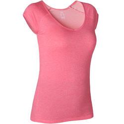 T-shirt voor pilates en lichte gym dames 500 slim fit roze