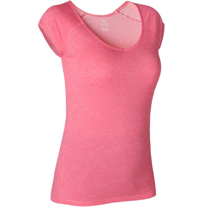 KADIN TİŞÖRT, TAYT, ŞORT Pilates - 500 GYM TİŞÖRTÜ DOMYOS - Kadın Pilates Kıyafetleri