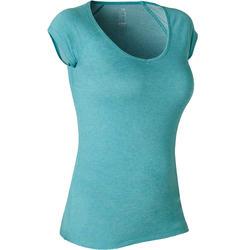Dames T-shirt voor pilates en lichte gym 500 slim fit azuurblauw