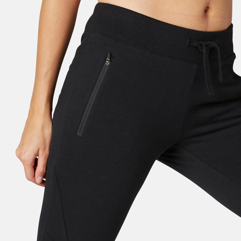 Pantalon Slim Chandal Gimnasia Pilates Domyos 510 Mujer Gris Jaspeado Domyos By Decathlon