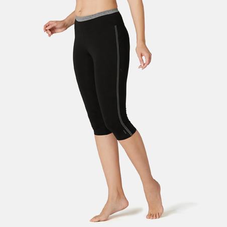Cropped Bottom Olahraga Senam Ringan & Pilates Slim-Fit Wanita 510 - Hitam