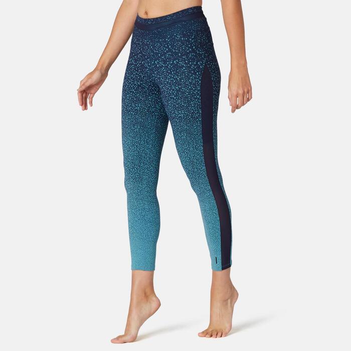 7/8-legging voor pilates en lichte gym 520 slim fit groen met print