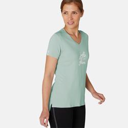 T-shirt Sport Pilates Gym Douce Femme 510 Vert Imprimé