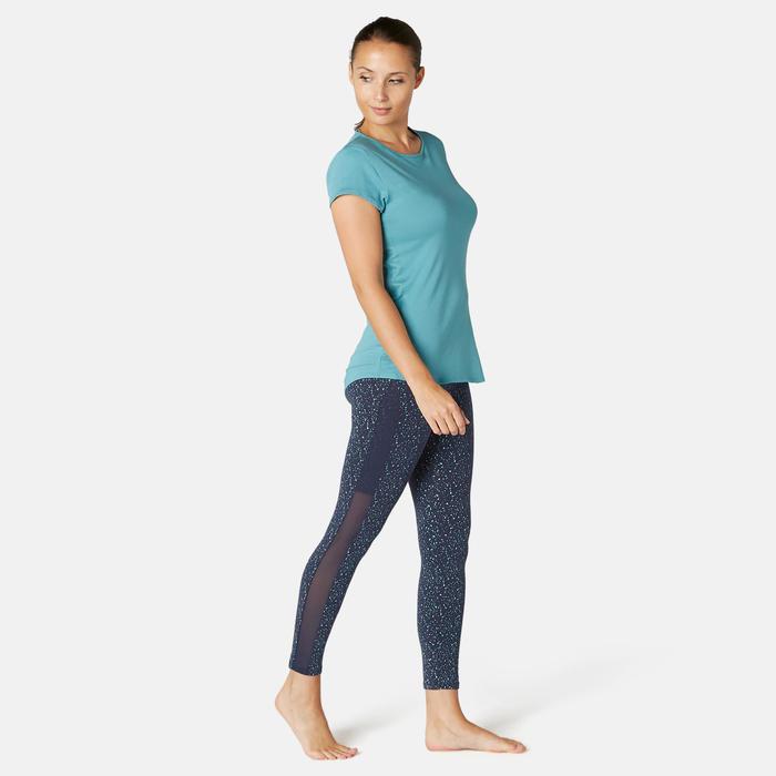 7/8-legging voor pilates en lichte gym 520 slim fit blauw