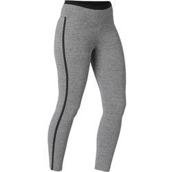 Legging court de sport taille haute 510 femme 7/8 en coton Gris