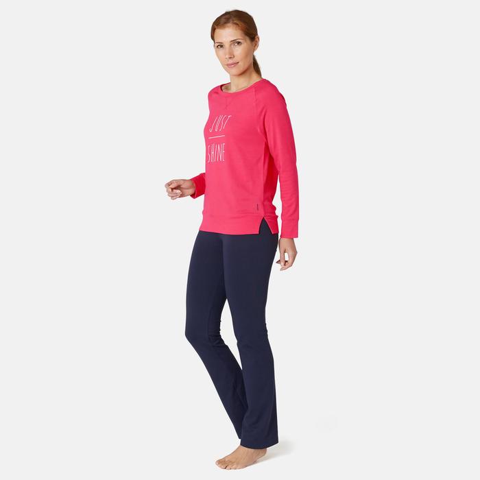 T-shirt Manches Longues Sport Pilates Gym Douce Femme 500 Regular Rose Imprimé