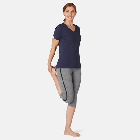 Women's Slim-Fit Pilates & Gentle Gym Sport Cropped Bottoms 510 - Grey