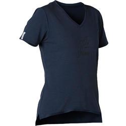 T-shirt voor pilates en lichte gym dames 510 marineblauw/opdruk